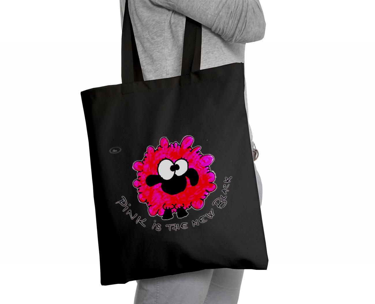 Sacoșă neagră Oaia roz - Lullula - 29.99 LEI |  PRINTCENTER - Tipar digital, offset, indoor, outdoor