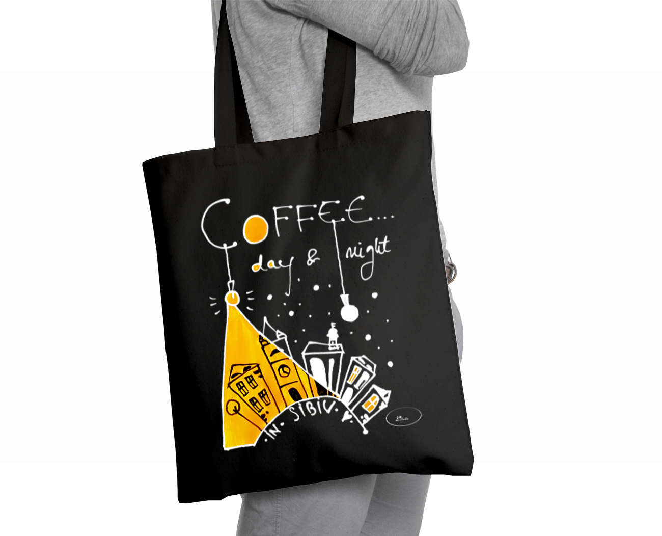 Sacoșă neagră Coffee in Sibiu - Lullula - 29.99 LEI |  PRINTCENTER - Tipar digital, offset, indoor, outdoor